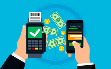 Mobile payment concept and digital marketing. Business vector illustration.