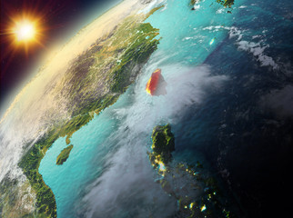 Taiwan on planet Earth in sunset