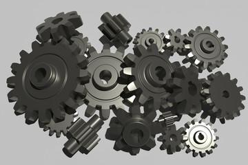 3d render of various cog wheels