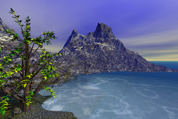 The bay on the island, a rocky mountain, with a beautiful tree in the foreground, blue waters, and a cloudy sky.