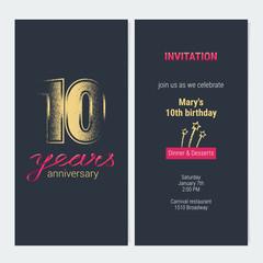 10 years anniversary invitation vector card