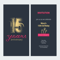 15 years anniversary invitation vector card