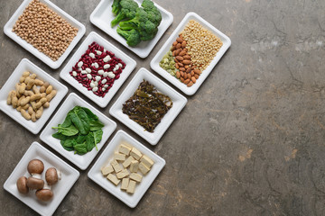 Set of various vegan protein sources