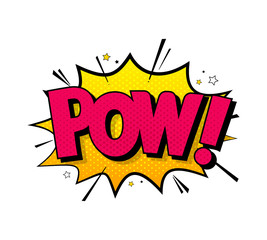 Comic lettering pow. Vector bright cartoon illustration in retro pop art style. Comic text sound effects. EPS 10.