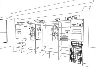 3D vector sketch. Wardrobe in the interior. Big modern wardrobe with folded and hanging clothes. Home Interior Design Software Programs.