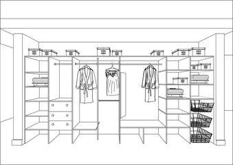3D vector sketch. Wardrobe in the interior. Big modern wardrobe with folded and hanging clothes.