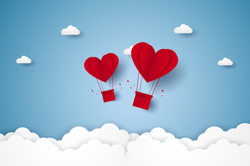 Valentines day , Illustration of love , red heart hot air balloons flying in the sky , paper art style