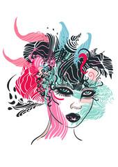 Floral Portrait Illustration