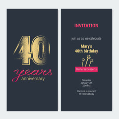 40 years anniversary invitation vector card