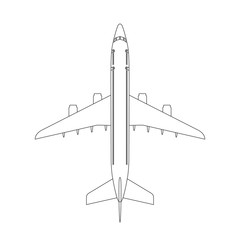 Airplane top view icon with trendy line or outline stroke style. Aircraft, passenger plane with four jet engines.