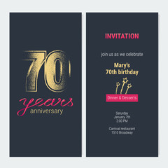 70 years anniversary invitation vector card