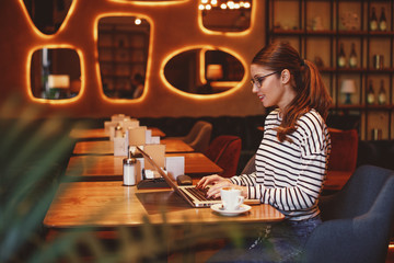 Young woman online via a laptop in a cafe