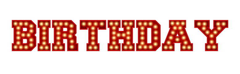 Birthday word made from red vintage lightbulb lettering isolated on a white. 3D Rendering