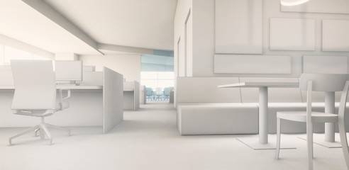 white model / office area working area 3d rendering