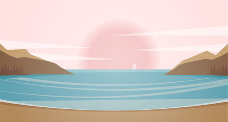Vector illustration: Marine landscape with coast, rocks, yacht and sunset.