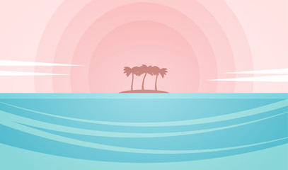 Seascape with island and palm trees on the sunset background