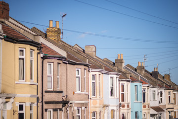 Multi coloured terraced housing