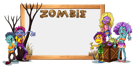 Wooden frame template with many zombies
