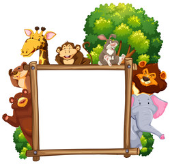 Wooden frame with many animals in background