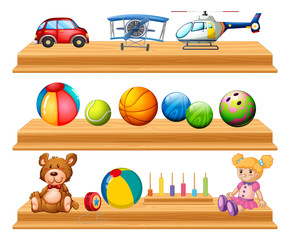 Different types of balls and toys on shelves