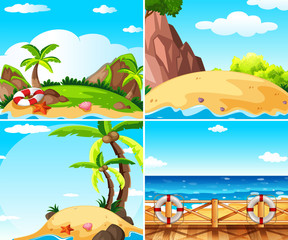 Four scenes with island and ocean