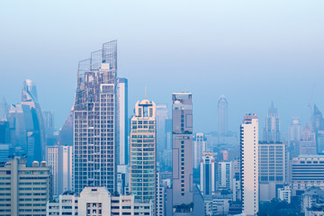 27 January, 2018: top view crowd landscape city in Asoke  Bangkok, Thailand with blue morning image