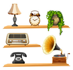 Vintage items on wooden shelves