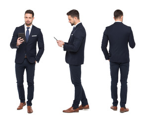 Young stylish businessman using tablet front, side, rear view isolated
