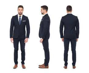 Young caucasian stylish businessman front side rear view isolated