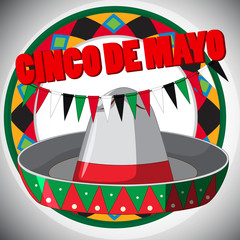 Cinco de Mayo card template with hat and flags