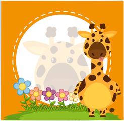 Border template with giraffe in garden