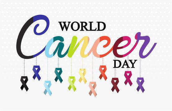 World Cancer Day card or background. vector illustration.