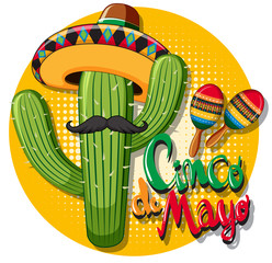 Cinco de mayo card template with cactus wearing hat