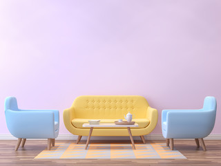 Colorful living room with pastel color 3d rendering image.There are minimalist style image ,pink empty wall,wood floor furnished with yellow and blue furniture