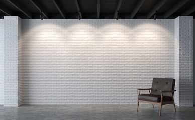 Wall Mural - Modern loft living room with white brick wall 3d rendering image.There polished concrete floor,white brick wall and black wood ceiling furnished with brown leather chair
