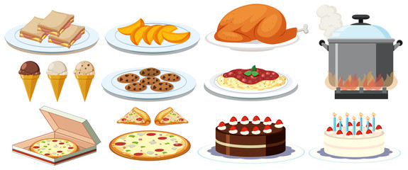 Different kinds of food on plates