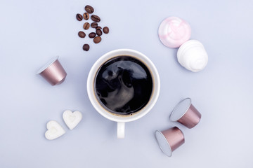 Poster Cafe Top View Cup of Coffee Coffee Capsule Coffee Beans Sugar in Shape of Hearts Marshmallow Coffee Concept Background Blue Background Flat Lay