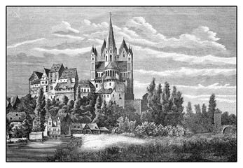 Germany, vintage view of Limburg an der Lahn with the prominent Catholic Cathedral - Limburger Dom -  dedicated to Saint George in late Romanesque style