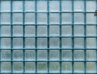 Blue transparent glass block for the wall