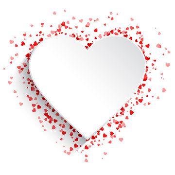 White heart background with red hearts