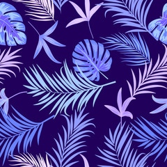 Seamless vector pattern of tropical leaves of palm tree.