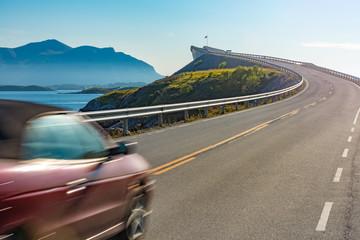 Car on Atlantic Road in Norway, Europe