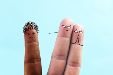 Expression of racial discrimination by drawing expressions with fingers