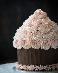 Beautiful birthday cupcake cake with rose cream decoration on rustic wooden table