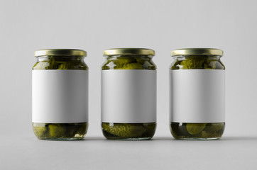 Pickled Cucumber Jar Mock-Up - Three Jars. Blank Label.