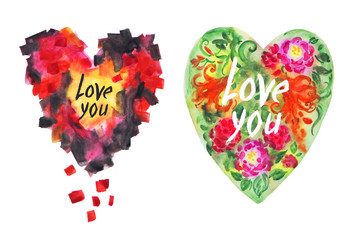 Two hearts: abstract and floral, watercolor drawing on a white background isolated with clipping path.