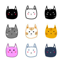 Colorful cute cartoon doodle style cat faces Vector Illustration