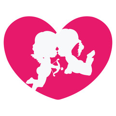 Clip art of two cute cherubs kissing & a heart in pink shades which can be used for creating your wallpapers, backgrounds, backdrop images, fabric patterns, clothing prints, labels, crafts & projects
