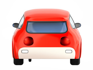 small cute red car back