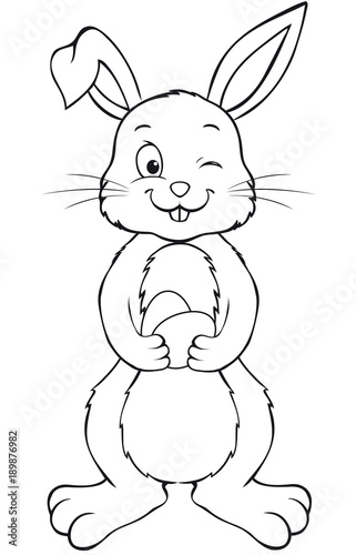 Cute Easter Bunny holding Easter Eggs Coloring page \